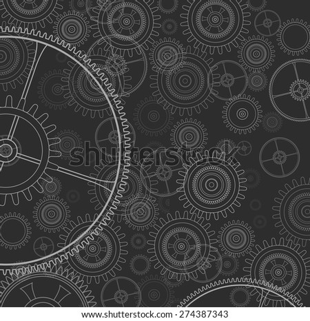 Science background with technology gears and cogwheel, vector illustration.