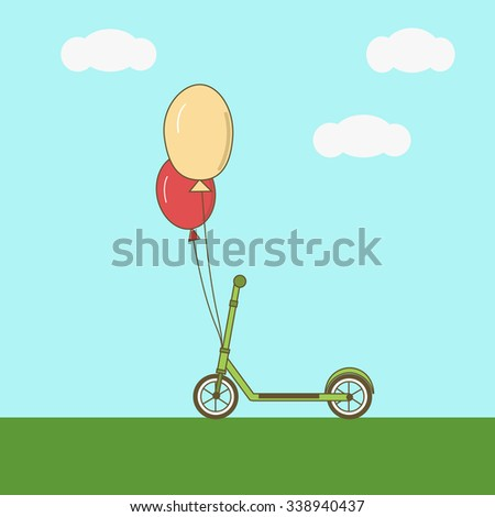 Scooter with balloons on the sky background. Vector illustration.