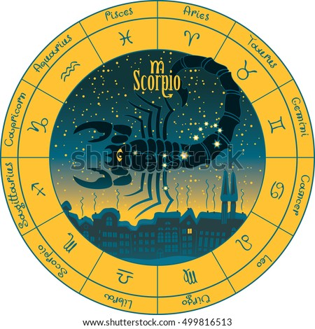 scorpio on the background urban night landscape and the starry sky in circle with the signs of the zodiac