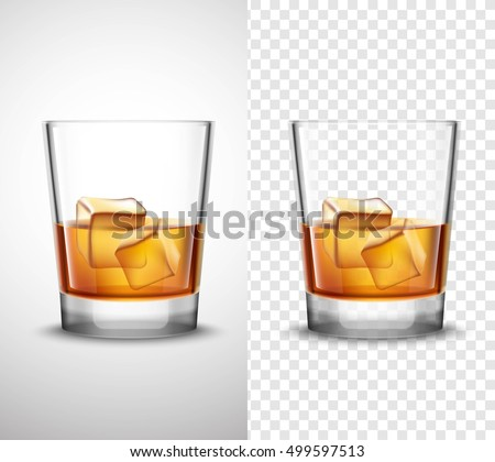 scotch whisky glasses set with alcohol and ice cubes 2 realistic banners with transparent background isolated - Scotch Glass