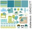 Scrapbook Design Elements - Airplane Party Set - in vector - stock vector