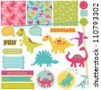 Scrapbook Design Elements - Baby Dinosaur Set - in vector - stock vector