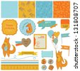 Scrapbook Design Elements -Baby Shower Set with Cute Foxes - in vector - stock vector