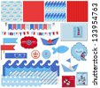 Scrapbook Design Elements - Nautical Sea Theme - for scrapbook and design in vector - stock vector
