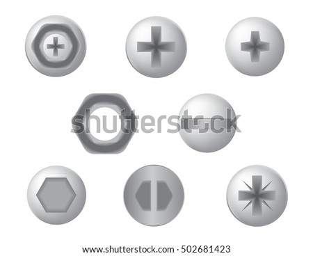 Screws, nuts and bolt icons vector set