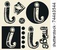 scribble alphabet, crazy doodle I - stock vector