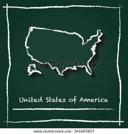 Cartoon Map United States Stock Vector Shutterstock - Hand drawn us map vector