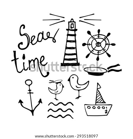 Sea and Boat  Hand-drawn Doodles isolated on white