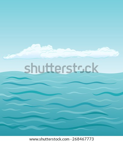 Sea and clouds, vector illustration