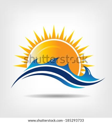 Sea and sun season  Vector icon  Abstraction of summer season This icon serves as idea of summer time,beach relax ,sunny ocean, waves beach, surf adventure, sunset day
