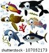 sea-life animals - stock vector