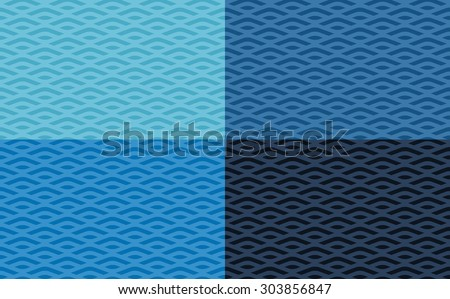 Sea pattern, abstract background in four shades, vector background