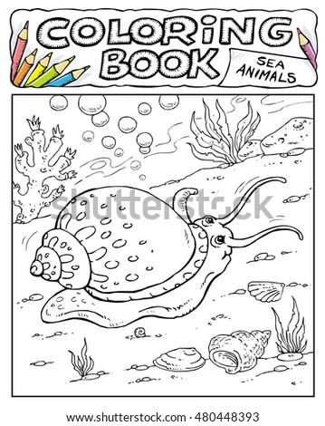 Plaice Coloring Book Pages Sea Animals Stock Vector 480448381