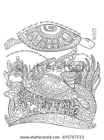 Elephant Jungle Coloring Page Mandala Style Stock Vector