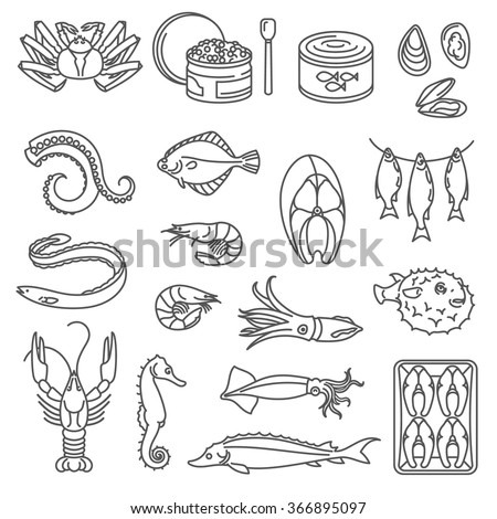 Seafood Outline Icons. Outline black icons with fish, caviar and other seafood.