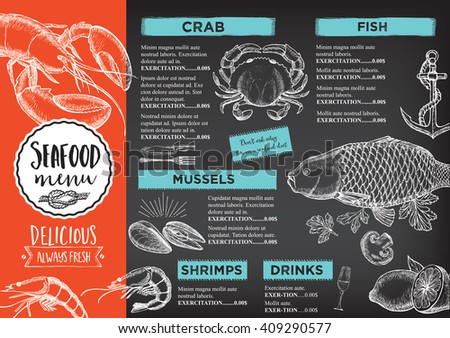 Seafood restaurant brochure menu design vector stock for Fish grill menu