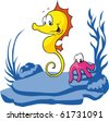 seahorse and octopus - stock vector