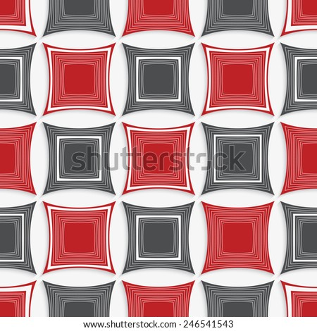 Seamless abstract background of 3d shapes with realistic shadow and cut out of paper effect. Modern 3D texture.Geometrical ornament with red and gray squares on white.