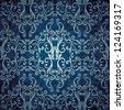 Seamless abstract floral wallpaper, blue elegant design - stock vector