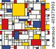 Seamless abstract mosaic pattern. (Piet Mondrian emulation). - stock vector