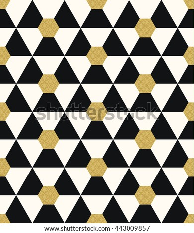 Seamless abstract pattern of geometric shapes.Geometric background with hexagons and triangles.