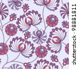 Seamless abstract vintage pattern with old stylized flower on the brunch - stock vector