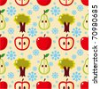 seamless apple tree pattern - stock vector