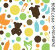 Seamless Baby Themed Pattern - stock vector