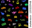 Seamless backdrop, transport colorful icons on a black background, wrapping paper. Vector illustration 10eps - stock vector