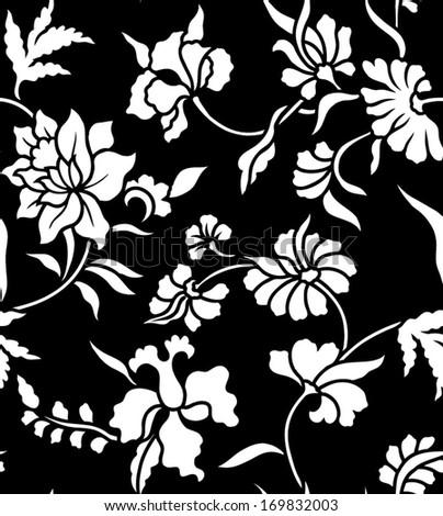 Seamless background beautiful black and white batik. - stock vector