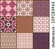 Seamless background Collection - Vintage Tiles and Flowers - for design and scrapbook - in vector - stock photo