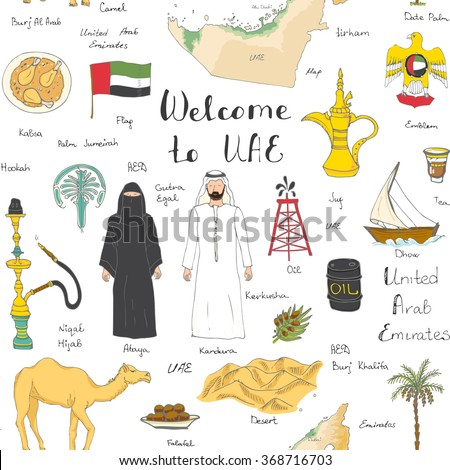 Hand drawn doodle uae set vector stock vector 604669109 for Arabic cuisine history