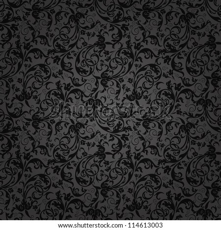 Seamless background of black color in the style of Damascus