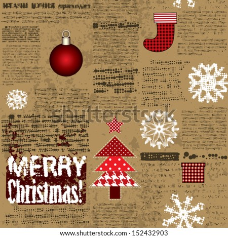Seamless background pattern. Imitation of the newspaper with Christmas elements