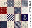 Seamless background pattern. Will tile endlessly. Grunge patchwork in nautical style - stock vector
