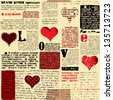 Seamless background pattern. Will tile endlessly. Newspaper with hearts - stock vector