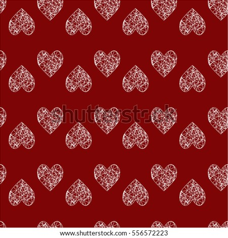 Seamless background polygonal hearts Saint Valentine's Day.