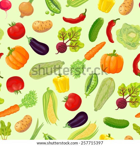 Seamless background with a pattern of ripe vegetables from the garden. Carrot, cabbage, green peas, peppers, chili, pumpkin, zucchini, radish, corn, eggplant, tomato, onion, beet, cucumber, potato.