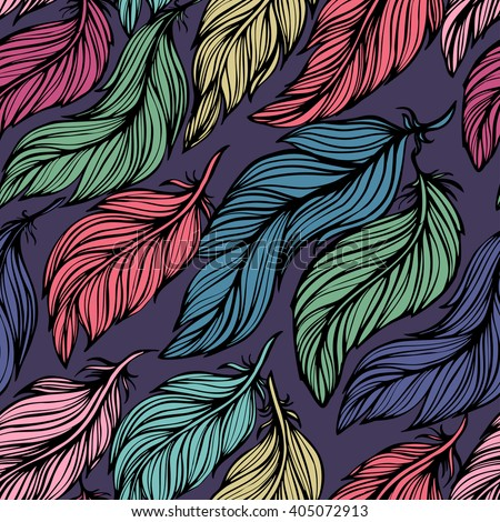 Seamless background with beautiful feathers of a bird. Repeating texture. Fabric design, background, wallpaper. Boho Style