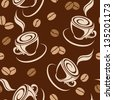 Seamless background with coffee beans and cups. Vector illustration. - stock vector