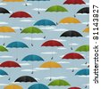 Seamless background with colored umbrellas - stock photo