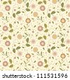 Seamless background with cute pink flowers - stock vector
