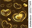 Seamless background with gold glossy hearts. (vector) - stock vector