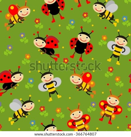 seamless background with insects in cartoon style