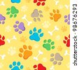 Seamless background with paws 1 - vector illustration. - stock vector