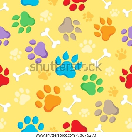Seamless background with paws 1 - vector illustration.