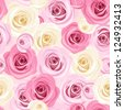 Seamless background with pink and white roses. Vector illustration. - stock vector