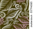 Seamless beige floral pattern with fern leafs (from my BIG