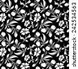 Seamless black and white floral pattern. Vector illustration. - stock