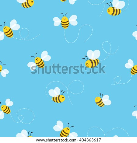 Seamless blue background with bees